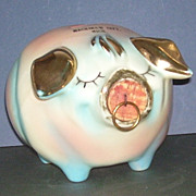 Hull Pink, Blue and Gold Corky Pig Bank Mackinaw City, Mi.