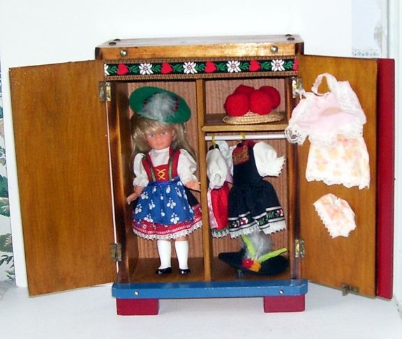 Swiss Wardrobe with Doll and Clothes