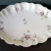 Limoges France  A. Lanternier Pink Floral Platter