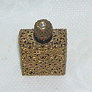 French Perfume Bottle Gold Filigree Overlay 2 Inches