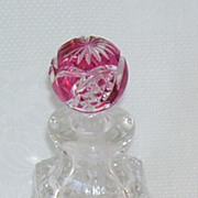 Cut Glass Crystal Czech Perfume Bottle Pink Round Top