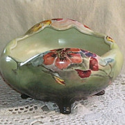 Hand Painted  Porcelain Floral Acorn  Footed Bowl