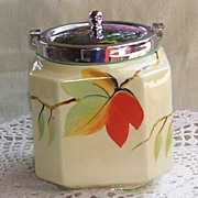 Vintage  Fall Leaves Carrying Biscuit or Cookie Jar England