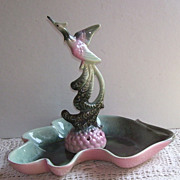 Rare Hull Flower Frog and Matching Leaf Dish