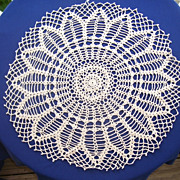Lovely Hand Crocheted Large Cotton Doily 26 inches