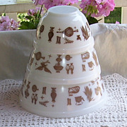 3 Pyrex Early Americana Cinderella  Brown and White Stacking Bowls