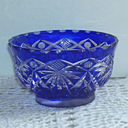 Czech Blue and Clear Etched Crystal Glass Jam Dish