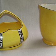 Czech Yellow and Black Heart Shaped Cream And Sugar