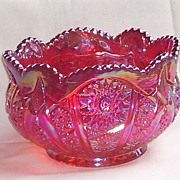SOLD Indiana Carnival Red Iridescent Hobstar and Arches Glass  Bowl