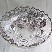 Cambridge Caprice  Footed Fruit Bowl with Silver Overlay