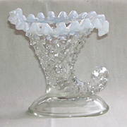Fenton Opalescent  Hobnail Cornucopia Candle Holder