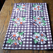 Brown and White Cotton Broadcloth Kitchen Tablecloth Table Cloth