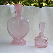 Heart Shaped Pink Frosted Perfume Bottle, Smaller Pink With Glass Dauber