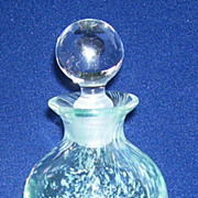 Caithness Scottish Art Glass Perfume Bottle Aqua and White Swirls