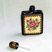 Lovely Small Vintage Austrian Petit Point Glass Perfume Bottle Glass Dauber