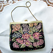 West Germany Floral Tapestry Purse with Strap