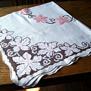 Beautiful Cross Stitched Embroidered Linen Table Cloth