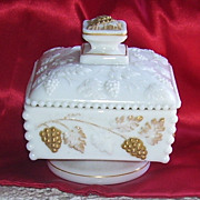 Westmoreland White Milk Glass Paneled Grape Beaded Edge Square Candy Dish Gold Trim