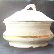 SOLD Wellsville China Co. Round Cheese or Butter Dish with Drip Plate