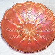 Fenton Marigold Carnival Peacock Feathers Glass Bowl