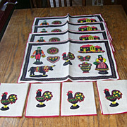 8 Pc Set Country Scene Roosters 4 Linen Table Place Mats with 4 Matching Napkins