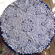 Beautiful White Needle Art Cotton Cutwork Round Tablecloth