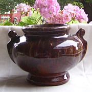 Brush McCoy Onyx  Browns Two Handles Glazed Planter