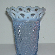 Imperial Blue Katy Opalescent Footed Vase