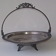 Art Nouveau Swing Handle Silver Plate Brides Basket