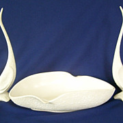 California Pottery Long Neck White Cranes or Egrets  Birds  And Serving Bowl