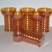6 Amber Colored Glass Tumblers