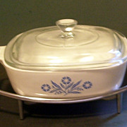 Pyrex Corning Ware Blue Cornflower 1 Qt Casserole with Holder