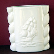 Abingdon Nautical Sailing Ship White Pottery Vase