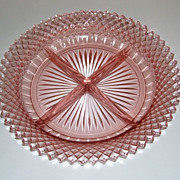 Pink Anchor Hocking Miss America Divided Relish Dish