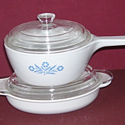 2 Pc. Corning Ware Cornflower 1 1/2 pint and White Grab It Casserole