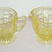 Hocking Optic Block Yellow Cream and Sugar Glass Set
