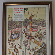 Vintage Beech Nut Gum Circus Framed Advertisement 1935