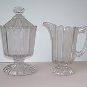 Large Victorian Antique Pressed Glass Creamer and Sugar with Lid Frosted Glass Stripes