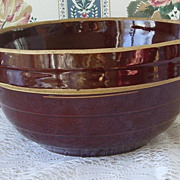 vintage U.S.A. Brown Ironstone Mixing Storage Bowl 9 inches