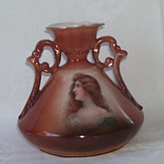 Austrian Brown  Porcelain  Lady Portrait  Ewer Vase