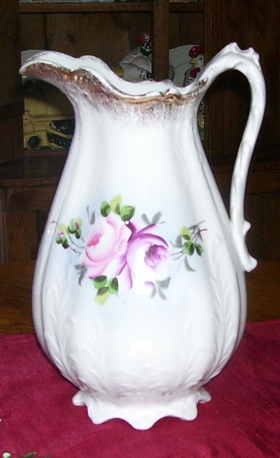 Victorian Porcelain Pink Roses Water Pitcher Scalloped Handle Gold Trim