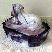 Westmoreland Slag Glass  Lamb Covered Dish  Purple and White