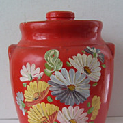 Vintage Ransburg Orange Stoneware Cookie Jar  Hand Painted  flowers