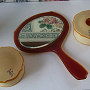 Celluloid 3 Piece Mirror, Powder Jar, Hair Receiver with a lock of Blond Hair