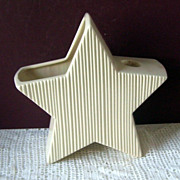 Vintage Soft White Pottery 5 Points Star Candle Holder Planter
