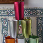 SOLD 6 Retro Aluminum Drinking Glasses or Mugs Metal Tumblers