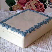 Wedgwood Queen's Ware England Embossed Jewelry Box Etruria and Brlaston Jasper Ware Blue and W