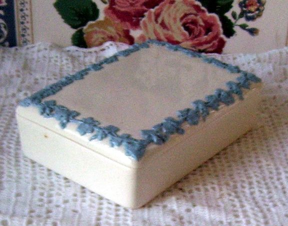 Wedgwood Queen's Ware England Embossed Jewelry Box Etruria and Brlaston Jasper Ware Blue and White