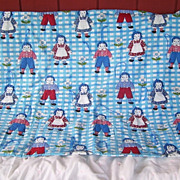 Raggedy Ann and Andy Hand Made Child's Quilt Hand Sewn Around Dolls