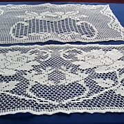 Vintage Needle Art Doilies Two Rectangular White Table Dresser Top Scarves